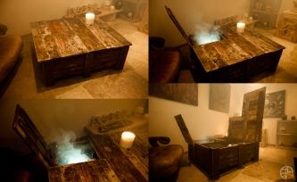table basse rangement diy palette design bouteilles bois Removal création mobilier