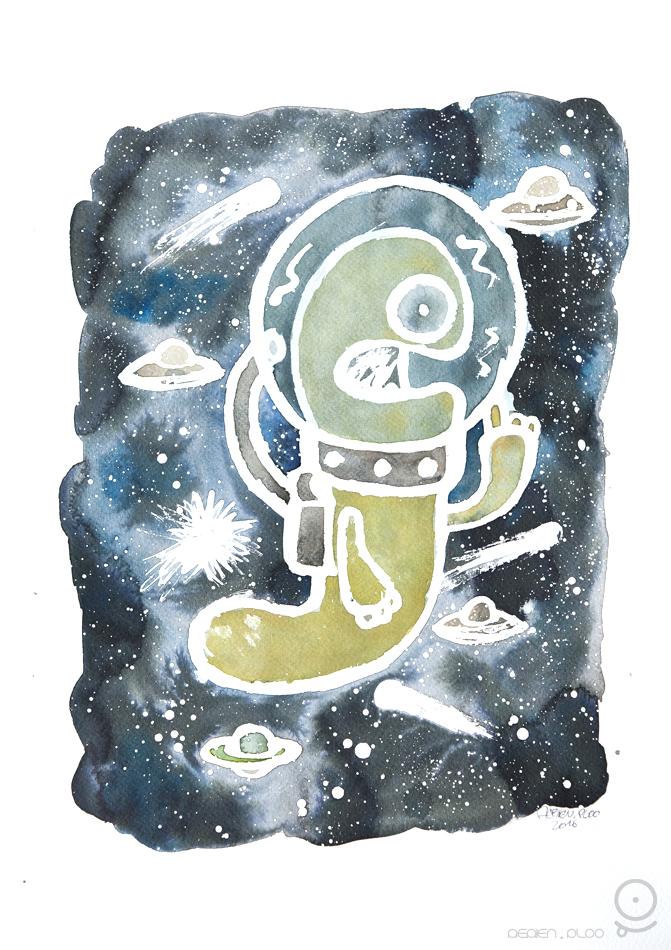 PLOO astronaute aérien aquarelle1